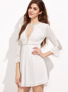 White Cut Out Ruffle Sleeve A Line Dress