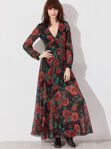 Black Rose Print Deep V Neck Long Sleeve Maxi Dress