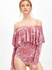 Pink Ruffle Off The Shoulder Crushed Velvet Bodysuit