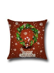 Red Christmas Graffiti Linen Square Pillowcase