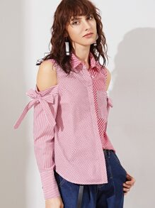 Red Striped And Checkered Mixed Open Shoulder Blouse