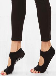 Black Open-toe Polka Dot Bottom Cut Out Ankle Sock