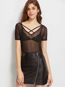 Black Crisscross V Neck Scoop Back Mesh T-shirt