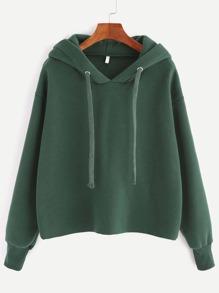 Dark Green Hooded Drop Shoulder Sweatshirt