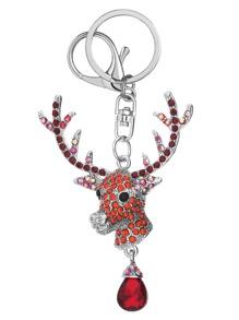 Silver Gem Inlay Delicate Reindeer Pendant Keychain