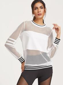 White Striped Trim Fishnet Sweatshirt