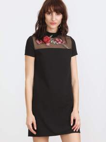 Black Embroidered Rose Applique Mesh Neck Dress