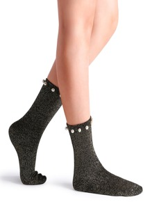 Black Pearl Embellished Glitter Crew Socks