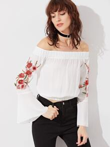 White Off The Shoulder Embroidered Blossom Applique Bell Sleeve Top