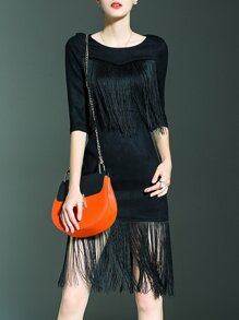 Black Contrast Fringe Sheath Dress