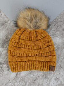 Pom Pom Knit Hat MUSTARD