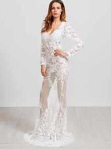 White Deep V Neck Embroidered Sheer Mesh Maxi Dress
