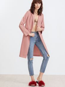 Lapel Fake Pockets Open Front Coat