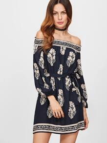 Navy Vintage Print Off The Shoulder Belted Dress