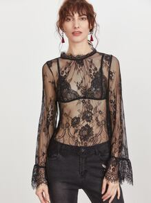Black Buttoned Keyhole Back Sheer Floral Lace Top