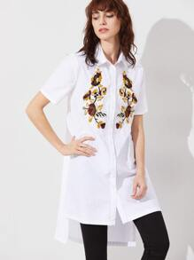 White Side Slit High Low Embroidered Blouse