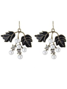 Black Color Pearl Leaf Shape Earrings