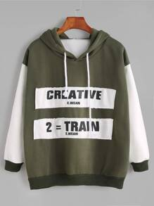 Color Block Hooded Ribbed Trim Patches Sweatshirt