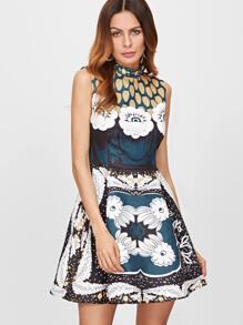 Multicolor Flower Print Jacquard Structured Skater Dress