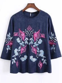 Blue Floral Embroidery Suede Blouse