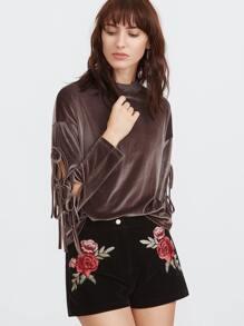 Brown Drop Shoulder Split Tie Sleeve Velvet Top