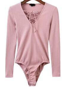 Pink Lace Up V Neck Bodysuit