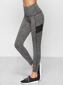 Grey Marled Knit Wide Waistband Leggings