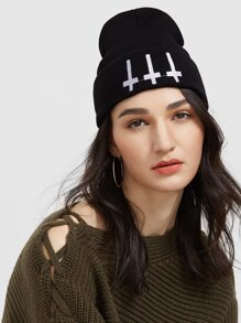 Black Cross Ribbed Knit Beanie Hat