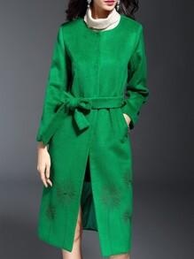 Green Embroidered Tie-Waist Coat
