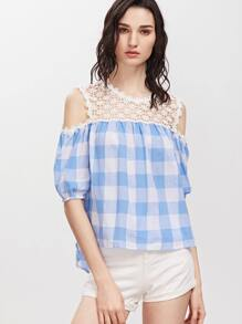 Blue And White Checkered Daisy Crochet Cold Shoulder Top