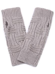 Grey Cable Knit Fingerless Gloves