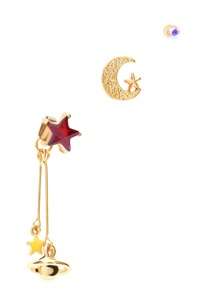 Gold Tone Star and Planet Charm Earring Set