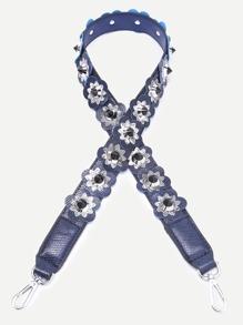 Blue Floral Patch Snakeskin Leather PU Shoulder Bag