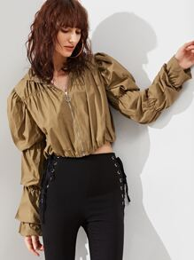 Khaki Elastic Puff Sleeve Zip Up Jacket