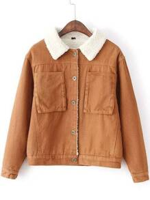 Khaki Button Jacket With Faux Shearling Lining
