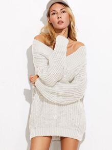 White V Neck Drop Shoulder Chunky Knit Sweater