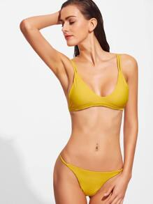 Yellow V Neck Sexy Bikini Set