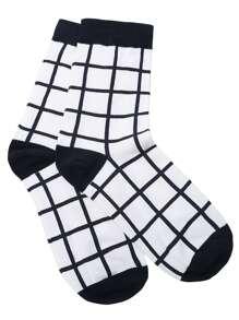 Black and White Grid Pattern Crew Sock