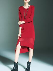 Red Contrast Gauze Sheer Asymmetric Dress