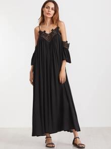 Black Cold Shoulder Pleated Lace Trim Dress