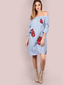Sleeved Open Shoulder Patched Stripe Dress LIGHT BLUE