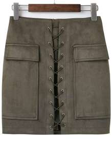 Army Green Lace Up Suede Skirt With Pocket