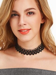 Black Punk Hollow Out Lace Choker