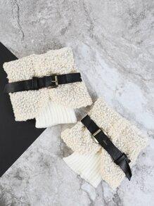 Faux Leather Strap Leg Warmers CREAM
