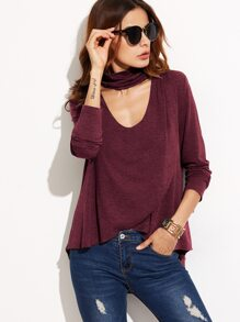 Burgundy Heathered Cutout Choker Overlap High Low T-shirt