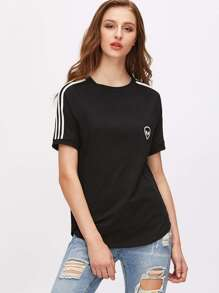 Black Alien Print Striped Raglan Sleeve T-shirt