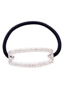 Silver Hollowed Square Black Elastic Hair Tie