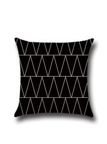 Black Contrast Geo Pattern Square Pillowcase