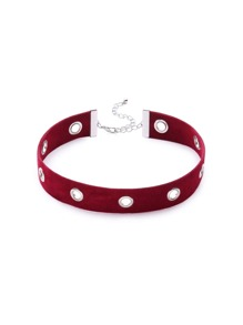 Red Eyelet Around Velvet Choker Necklace