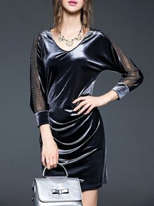 Grey V Neck Mesh Velvet Dress